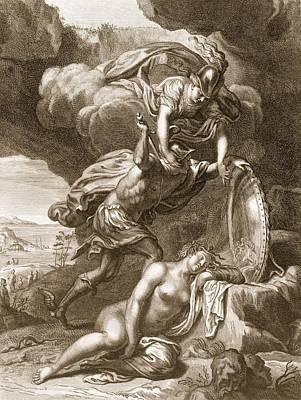 Gorgon Wall Art - Drawing - Perseus Cuts Off Medusas Head, 1731 by Bernard Picart