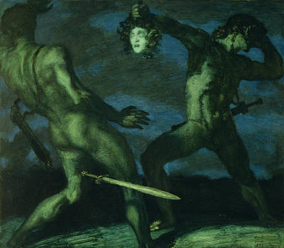 Metamorphosis Painting - Perseus Turns Phineus To Stone By Brandishing The Head Of Medusa by Franz von Stuck
