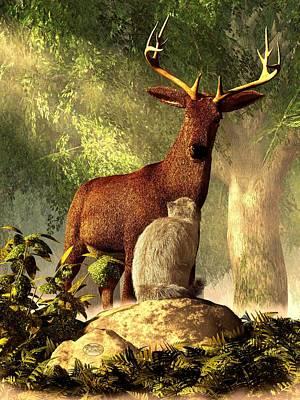 Barns Digital Art - Persian Cat And Deer by Daniel Eskridge