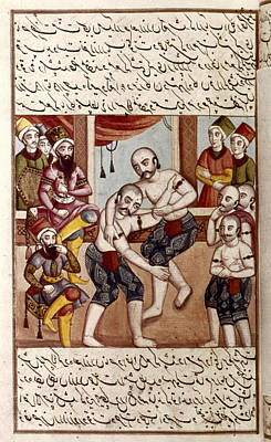 Wrestle Painting - Persian Miniature, 1806 by Granger