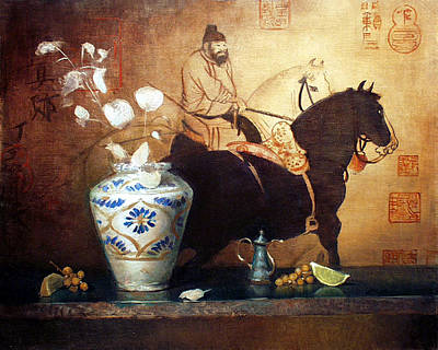 Painting - Persian Vase And Chinese Horses by Keith Gunderson