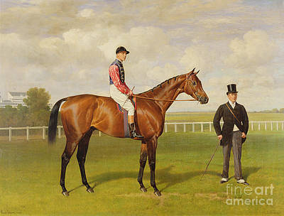 Horse Racing Painting - Persimmon Winner Of The 1896 Derby by Emil Adam