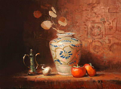 Painting - Persimmons And Persian Vase by Keith Gunderson