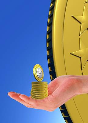 Electronic Photograph - Person Holding Bitcoins by Victor Habbick Visions