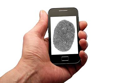 Person Holding Phone With Finger Print Art Print by Victor De Schwanberg