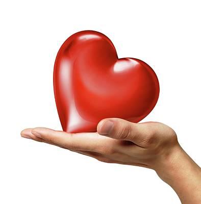 Person Holding Red Heart Print by Leonello Calvetti