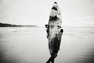 Person Holding Surfboard Art Print by Helene Cyr