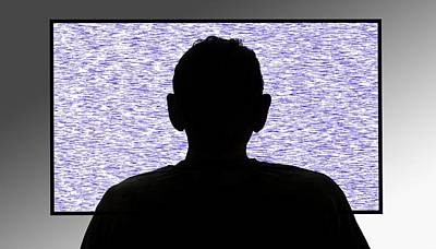 Person In Front Of Flickering Tv Screen Art Print by Victor De Schwanberg/science Photo Library