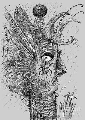 Psychedelic Wall Art - Digital Art - Person Insect. Smoker. Surrealistic by Alex74