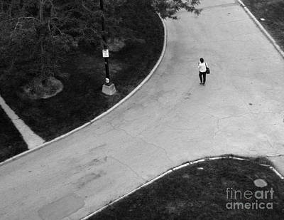 Person On Walkway Art Print