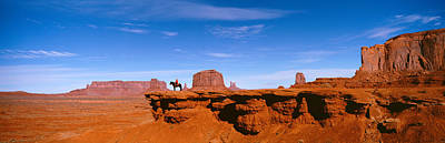Person Riding A Horse On A Landscape Art Print by Panoramic Images