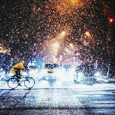 Person Riding Bicycle In Snowfall Art Print by Maclerin Mines / Eyeem