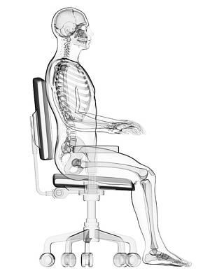 Biomedical Illustration Photograph - Person Sitting With Incorrect Posture by Sebastian Kaulitzki