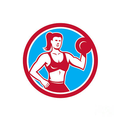 Personal Trainer Female Lifting Dumbbell Circle Art Print
