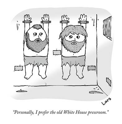 Prison Drawing - Personally, I Prefer The Old White House by Lars Kenset