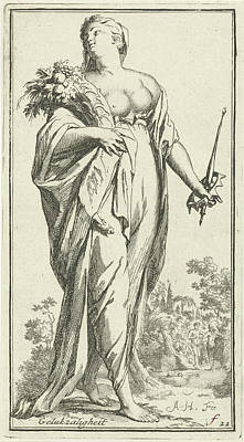 Cornucopia Drawing - Personification Of Bliss, Arnold Houbraken by Arnold Houbraken