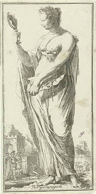 Valuable Drawing - Personification Of Satisfaction, Arnold Houbraken by Arnold Houbraken