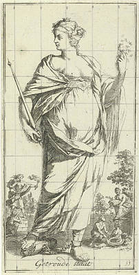 Cornucopia Drawing - Personification Of The Married State, Arnold Houbraken by Arnold Houbraken