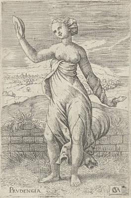 Mirror Drawing - Personification Of Virtue Prudence With A Mirror In One by Artokoloro