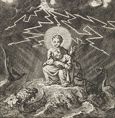 Storm Drawing - Personified Soul Asleep In Christs Lap During Storm by Jan Luyken