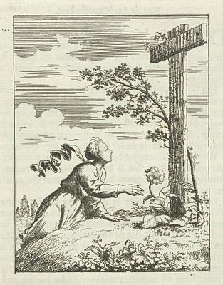 Soul Art Drawing - Personified Soul For A Cross On A Hill, Jan Luyken by Quint Lox