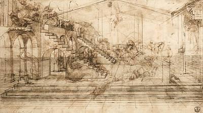 Perspectival Study Of The Adoration Of The Magi Art Print by Leonardo da Vinci