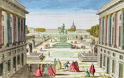 Perspective View Of Place Louis Xv From Porte Saint-honore Coloured Engraving Art Print by French School