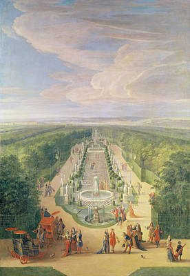 High Society Painting - Perspective View Of The Grove From The Galerie Des Antiques At Versailles, 1688 Oil On Canvas by Jean-Baptiste Martin