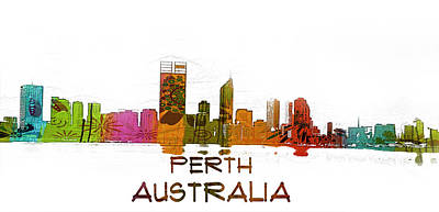 Watercolor Painting - Perth Australia Skyline Blueprint by Celestial Images