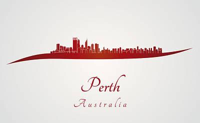 Oceania Digital Art - Perth Skyline In Red by Pablo Romero