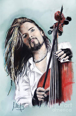 Cello Wall Art - Drawing - Perttu Kivilaakso _ Apocalyptica by Melanie D