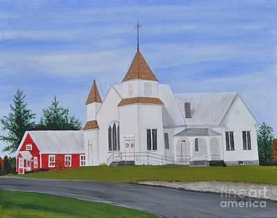 Red School House Painting - Peru Congregational Church by Sally Rice