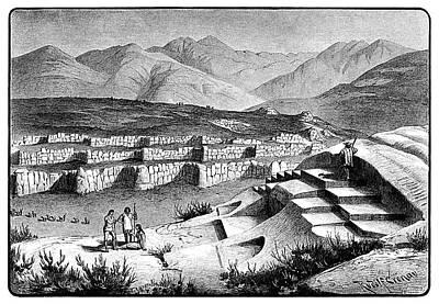 Inca Drawing - Peru Inca Fortress, 1892 by Granger
