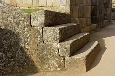 Peru, Machu Picchu, Four Stone Steps Art Print