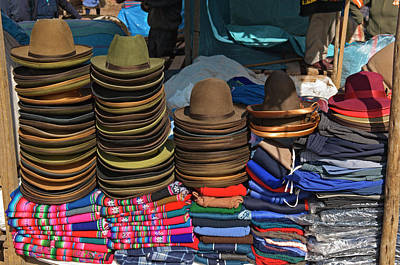 Peru, Pisac, Hats And Clothes For Sale Art Print