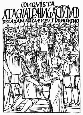 Inca Drawing - Peru Pizarro & Atahualpa by Granger