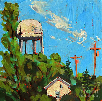 Indiana Landscapes Painting - Peru Water Tower On 9th by Charlie Spear