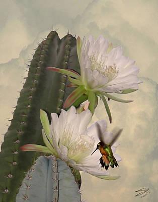 Digital Art - Peruvian Apple Cactus Flowers And Hummingbird by IM Spadecaller