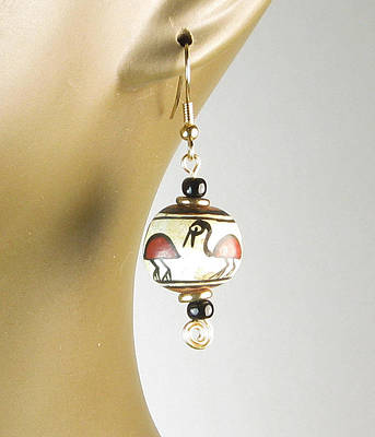 Jewelry - Peruvian Bird Hand-painted Bead Earrings by Vagabond Folk Art - Virginia Vivier