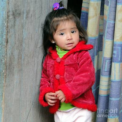 Photograph - Peruvian Girl In Doorway by Barbie Corbett-Newmin