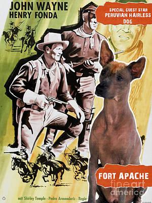 Painting - Peruvian Hairless Dog Art Canvas Print - Fort Apache Movie Poster by Sandra Sij