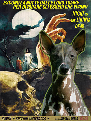 Painting - Peruvian Hairless Dog Art Canvas Print - Night Of The Living Dead Movie Poster by Sandra Sij