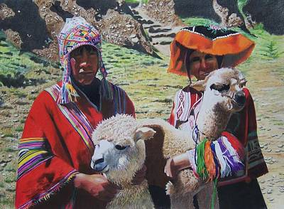 Art Print featuring the mixed media Peruvians by Constance Drescher