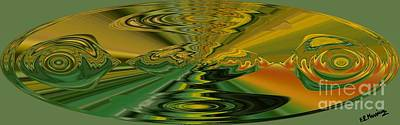 Abstract Rose Oval Digital Art - Pesci by Loredana Messina