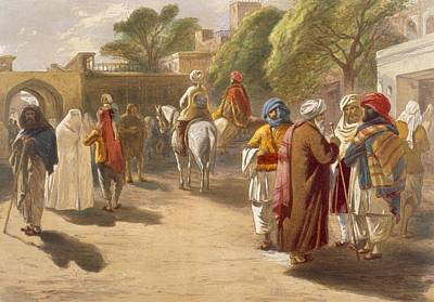 Marketplace Wall Art - Drawing - Peshawar Market Scene, From India by William 'Crimea' Simpson