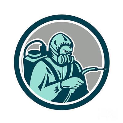 Pest Digital Art - Pest Control Exterminator Spraying Retro  by Aloysius Patrimonio