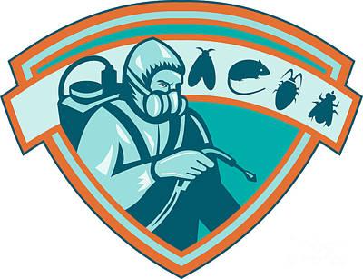 Pest Control Exterminator Worker Shield Art Print by Aloysius Patrimonio