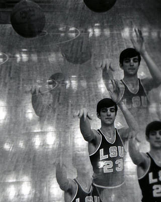 Three Points Photograph - Pete Maravich Kaleidoscope by Retro Images Archive