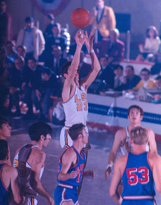 Three Points Photograph - Pete Maravich Releasing Shot by Retro Images Archive