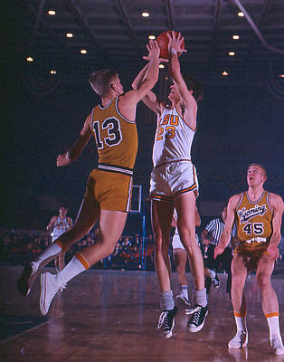 Three Points Photograph - Pete Maravich Shooting Over Player by Retro Images Archive